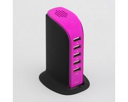 Vysokorychlostní dobíjecí stanice TOWER s 5 USB porty - fialová