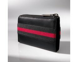 Kožená pánská peněženka PROTEID s integrovanou klíčenkou - černá/červená
