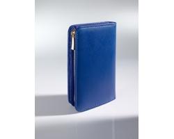 Kožená dámská peněženka WEPT se zipem dekorovaným 18karátovým zlatem - modrá