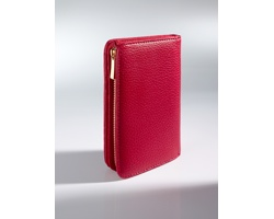 Luxusní kožená dámská peněženka DERMINA dekorovaná 18karátovým zlatem - červená