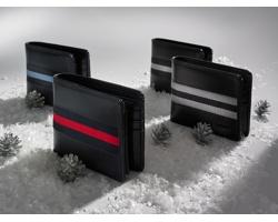 Kožená pánská peněženka DESERT s kapsou na zip - černá / červená
