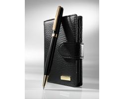 Sada kožené dámské peněženky a kuličkového pera SPRING se zlatým dekorem - černá
