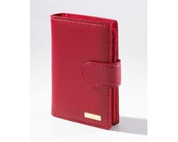 Kožená dámská peněženka SHEYENNE zdobená 18karátovým zlatem - červená
