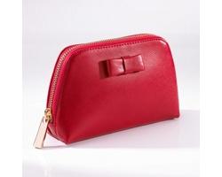 Dámská kožená kosmetická taška SAN FRANCISCO dekorovaná 18karátovým zlatem - červená