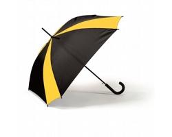 Automatický dvoubarevný deštník WAYS s pogumovanou rukojetí - žlutá