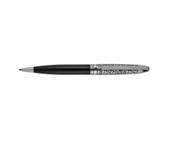 Značkové měděné kuličkové pero Pierre Cardin JACQUES s rytým dekorem - černá / stříbrná