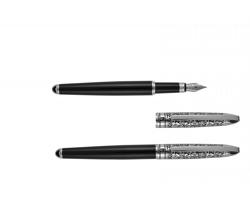 Značkové měděné plnící pero Pierre Cardin JACQUES II - černá / stříbrná