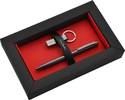 Značková sada kuličkového pera Pierre Cardin GISELE + 16GB USB flash disk - šedá gunmetal