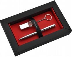Značková sada kuličkového pera Pierre Cardin GEORGINA + 16GB USB flash disk ze skla - stříbrná