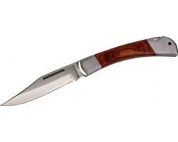 Značkový zavírací kovový nůž Schwarzwolf JAGUAR s dřevěnou rukojetí - hnědá