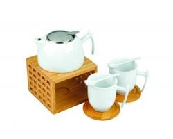 Značková porcelánová souprava na čaj Vanilla Season MANIPUR - bílá / hnědá