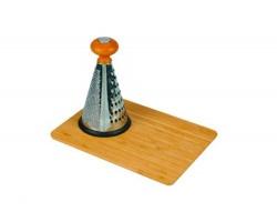 Značkové struhadlo z nerezové oceli Vanilla Seasson KANSAI s bambusovým prkénkem - stříbrná / hnědá