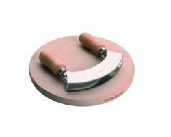 Značková sada dřevěného prkénka a nerezového sekáčku na bylinky Vanilla Season TANGANIKA - přírodní / metalická