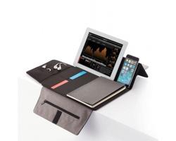 Recyklované konferenční desky ROBERTS s pouzdrem na tablet a poznámkovým blokem - šedá
