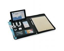 Textilní konferenční desky TENDERLY s integrovaným stojánkem na tablet, formát A4 - šedá
