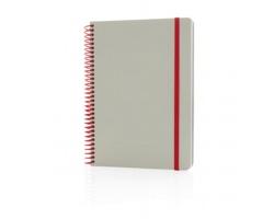 Barevný poznámkový blok UNBOW s kroužkovou vazbou, formát A5 - červená / šedá
