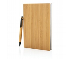 Bambusový set poznámkového bloku a pera RAKE, A5 - hnědá