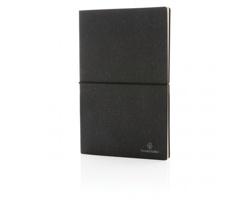 Poznámkový blok JERRIE s deskami z recyklované kůže, A5 - šedá