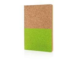 Korkový ekologický poznámkový blok KNURL z recyklovaného papíru - zelená