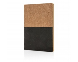 Korkový ekologický poznámkový blok KNURL z recyklovaného papíru - černá