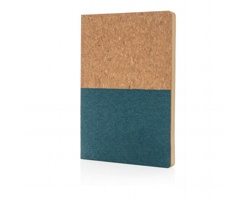 Korkový ekologický poznámkový blok KNURL z recyklovaného papíru - modrá