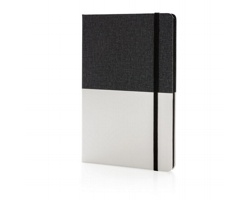 Luxusní poznámkový blok BURBANK v textilních deskách, formát A5 - černá