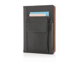 Linkovaný zápisník STURKIE s kapsičkou na telefon, formát A5 - černá