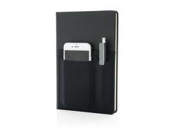 Luxusní zápisník MORA s inteligentními kapsami, A5 - černá