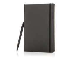 Linkovaný zápisník HAVELOCK s pevnými deskami a kuličkovým perem se stylusem, formát A5 - černá