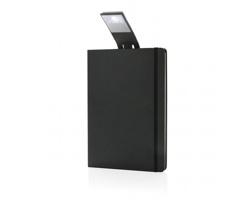 Poznámkový blok CORPORIS s LED lampičkou, formát A5 - černá