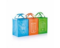 Sada plastových tašek na třídění odpadu RECYCLE, 3 kusy - zelená
