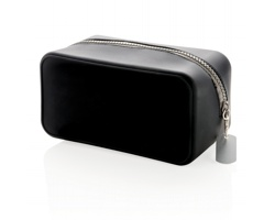 Silikonová kosmetická taška GAINESTOWN s masivním zipem - černá / šedá