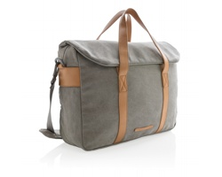 Plátěná taška na notebook OLOGY s popruhem přes rameno - šedá