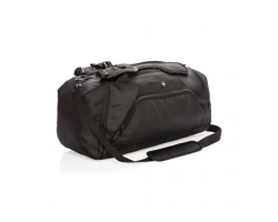 Značkový polyesterový batoh Swiss Peak UNDOCK s pouzdry pro RFID ochranu, 2 v 1 - černá