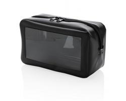 Plastová toaletní taška VELAMINA s průhledným okénkem - černá