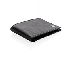 Značková kožená peněženka Swiss Peak NATATION s RFID/NFC ochranou, až pro 12 karet - černá / černá