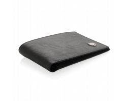 Značková kožená peněženka Swiss Peak NATATION s RFID/NFC ochrannou, až pro 12 karet - černá