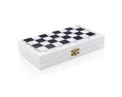 Sada deskových her 3v1 ORRVILLE v dřevěné krabičce - bílá