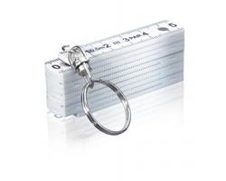 Plastové skládací pravítko EVARIST s kroužkem na klíče, 50cm - bílá
