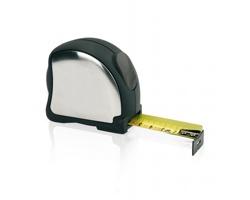 Nerezový svinovací metr SHONDRA s klipem, 5m/25mm - stříbrná / černá