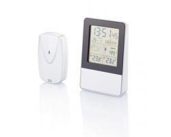 Domácí meteostanice ACCOSTED s LCD displejem, 7 funkcí - stříbrná / černá
