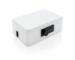 Plastový box na mobilní telefony SOLES s funkcí dobíjení a zámkem - bílá