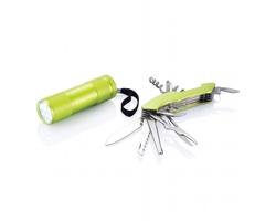 Outdoorový set WASP s kapesním nožem a svítilnou - zelená