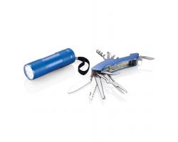 Outdoorový set WASP s kapesním nožem a svítilnou - modrá