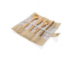 Bambusová sada EKO příborů  VALET v bavlněném pouzdře, 5 komponentů - bílá