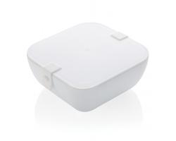 Plastová hranatá krabička na jídlo ELOQUENT - bílá