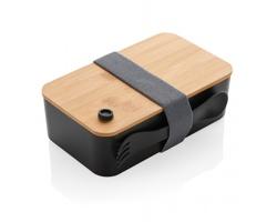 Plastová krabička na jídlo HAWICK s bambusovým víkem, 1,4 l - černá