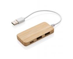 Bambusový USB hub s USB-C portem SIDON - hnědá