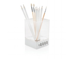 Stojánek na psací potřeby HOUGHTON s USB nabíječkou až pro 5 zařízení - bílá