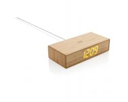 Bambusové digitální hodiny SWATH s bezdrátovou nabíječkou, 5 W - hnědá